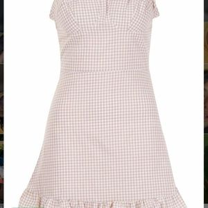 New gingham tie strap frill hem dress